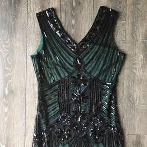 Black and Green Sequin Flapper Dress